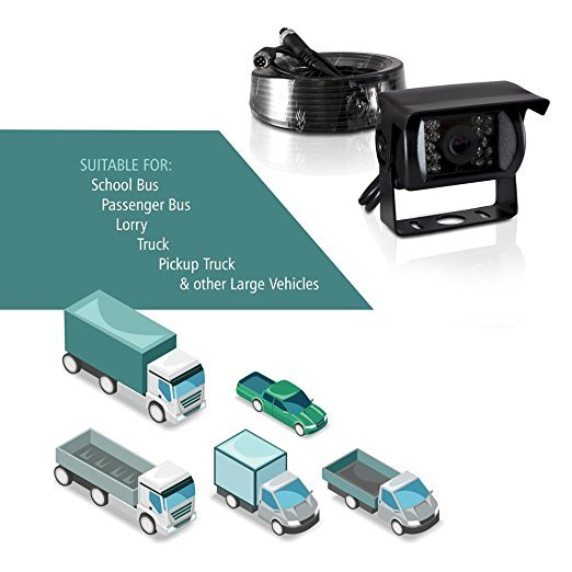 Backup Reversing HD Camera for Car Truck Lorry Pickup Bus Vehicle Caravans- Waterproof, Night Vision DC 12V - 24V